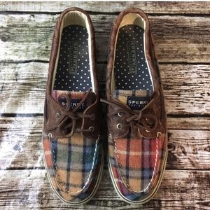Sherry Topsiders- plaid flannel boat shoes -Sz 10